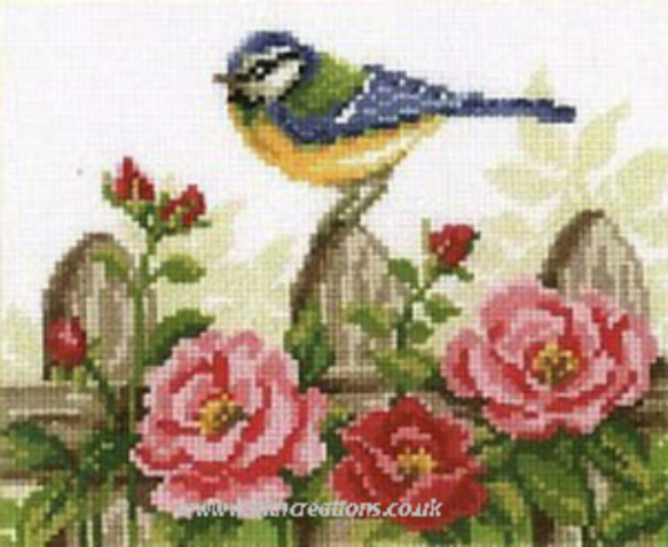 Blue Tit and Roses Cross Stitch Kit